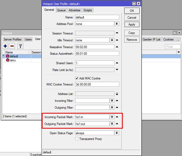 Penggunaan incoming dan Outgoing Packet Mark Hotspot Mikrotik
