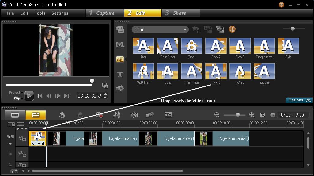 Menambakan Efek Transition Corel Video Studio 4