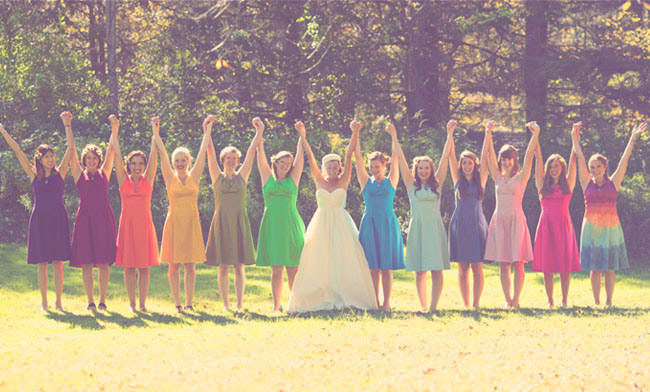 Colorful Bridesmaids For A Rainbow Wedding