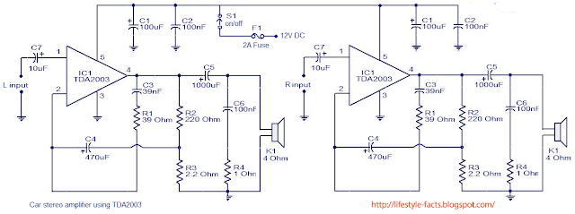 audio amplifier, car amplifier, simple amplifier using TDA 2003