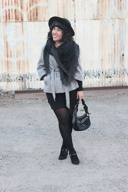Gap Tweed Belted Coat and Nine West Black Booties Winter Office Outfit