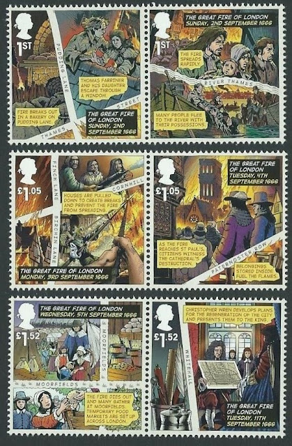 UK 2016 The Great Fire Of London Stamp Set
