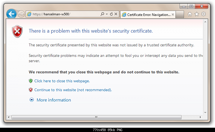certification error navigation blocked: How can you resolve