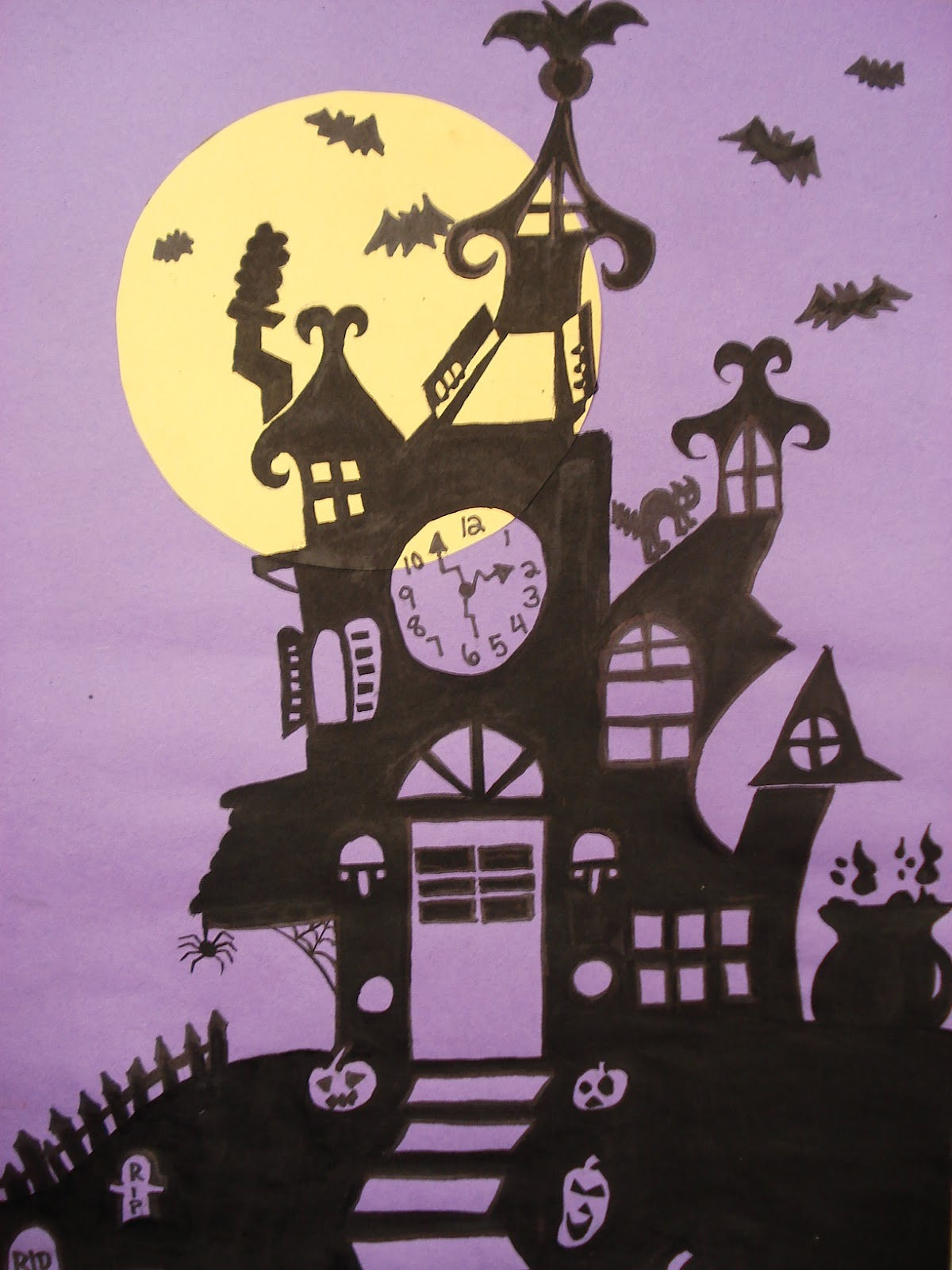 a faithful attempt Haunted House Silhouette Painting – 8Th Grade Art Lesson Plans