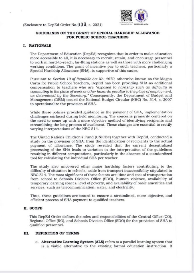 Guidelines on the Provision of Special Hardship Allowance for Public School Teachers   Deped Order No. 039 s. 2021