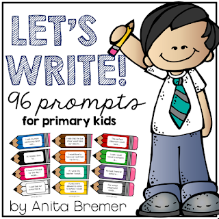 Writing Prompts for primary students- perfect to have in the writing center!