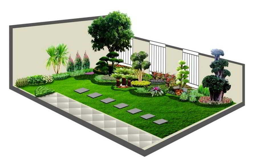 Gambar Desain Taman Minimalis 3D