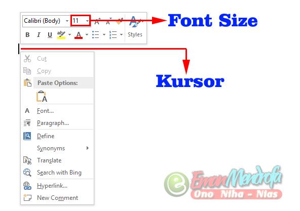 Memperbesar dan Memperkecil Ukuran Huruf Word dengan Font Size