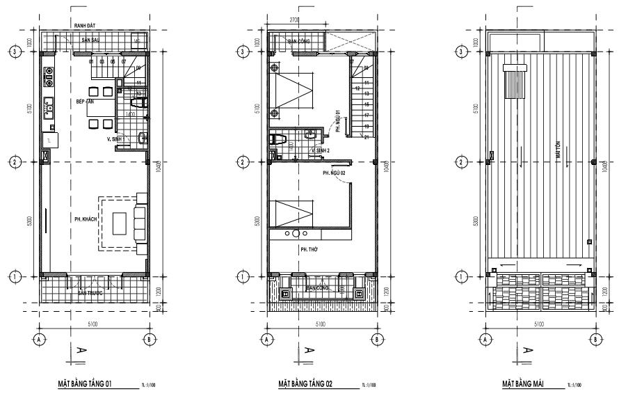 Mẫu nhà 5,1 x 13m - 1 trệt, 1lầu