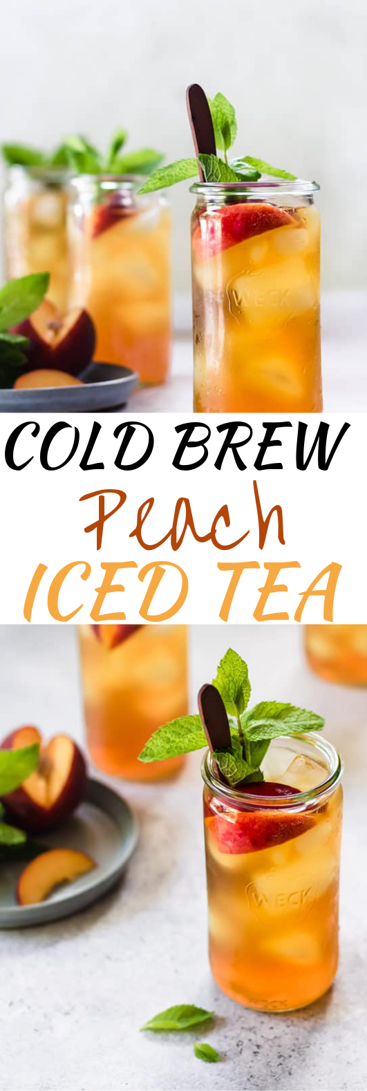 Cold Brew Peach Iced Tea #summer #drinks