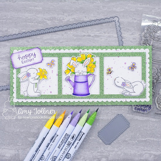 Hoppy Easter by Amy features Slimline Frames & Portholes, Slimline Frames & Windows, Hop Into Spring, Bitty Bunnies, Woodland Spring by Newton's Nook Designs; #newtonsnook, #eastercard, #springcard, #inkypaws, #cardmaking