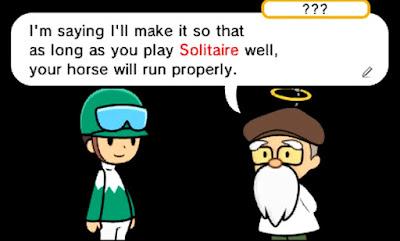 Pocket Card Jockey protagonist angel conversation play solitaire horse run