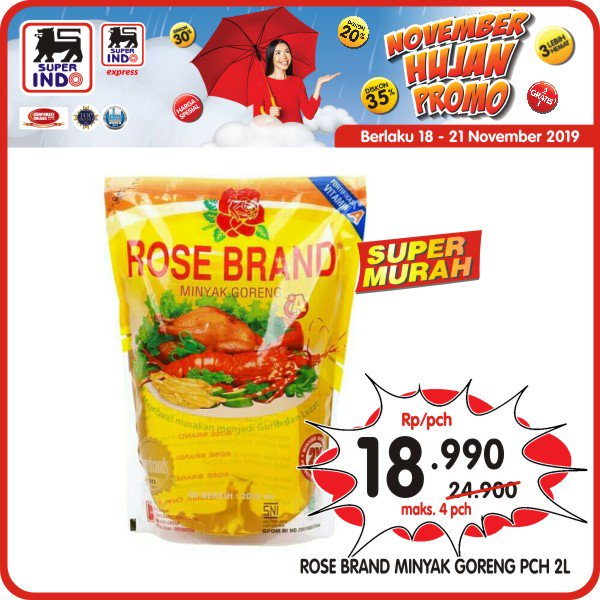 #Superindo - #November Hujan Promo Minyak Rose Brand Super Murah (s.d 21 Nov 2019)