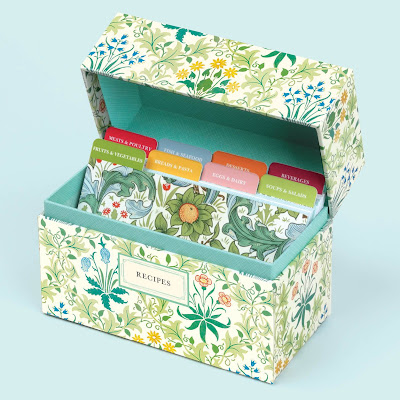 recipe box with William Morris floral design