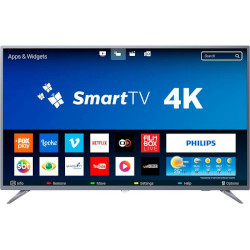 "Smart TV LED 58"" Philips 58PUG6513/78 Ultra Slim Ultra HD 4k Wi-fi 3 HDMI 2 USB Prata"