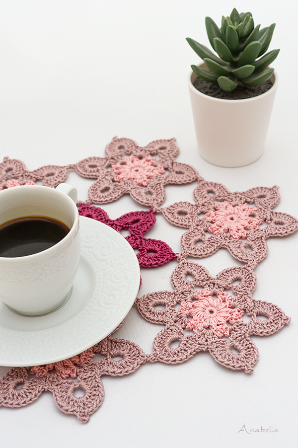 Old Pink crochet table set, Anabelia Craft Design