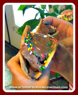 Chocolate Ice Cream Tacos with Vanilla Cookie Shells and Sprinkles