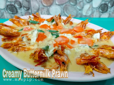 Resipi simple creamy buttermilk prawn