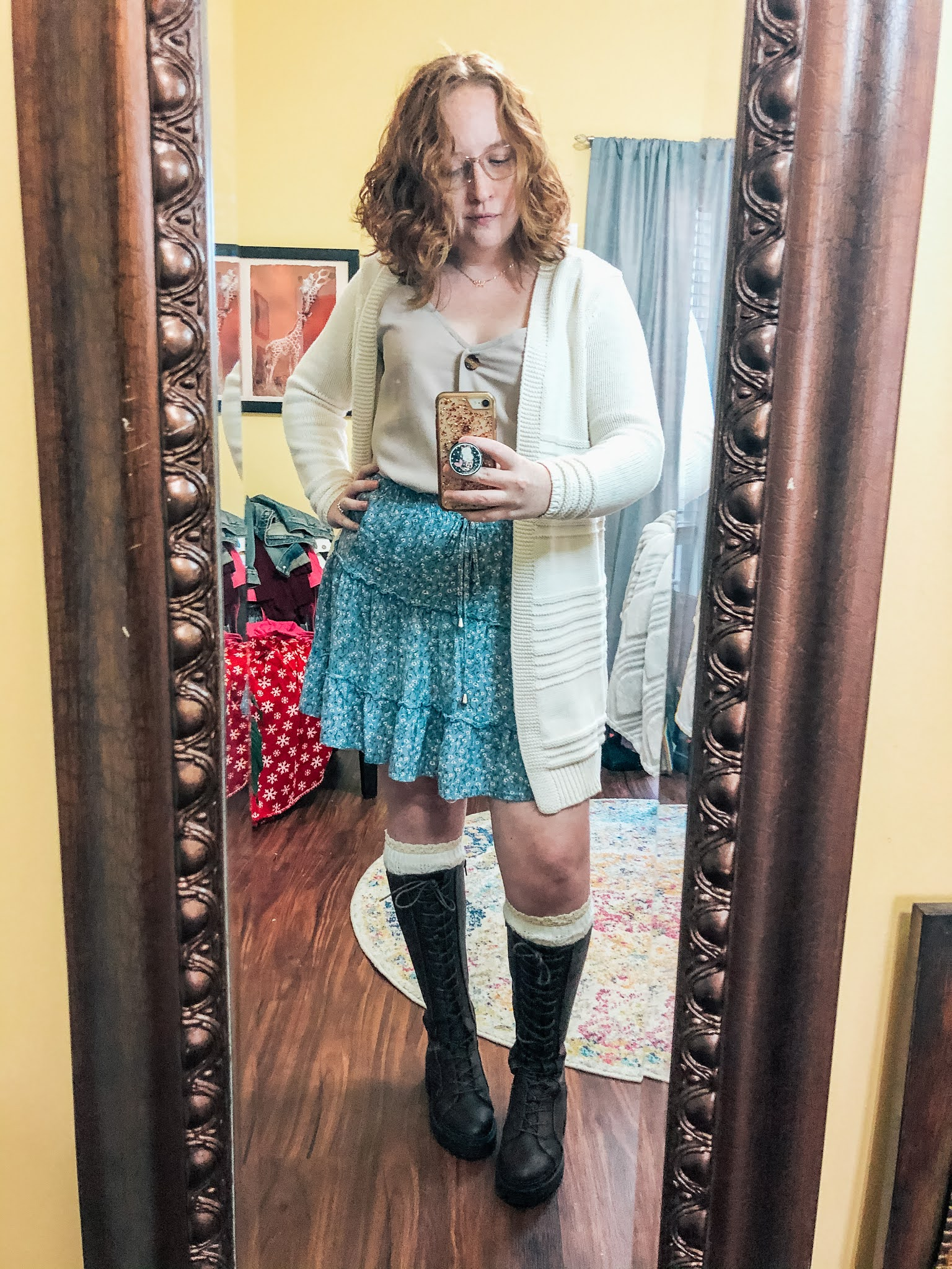 blue-boho-skirt-knee-high-lace-up-boots