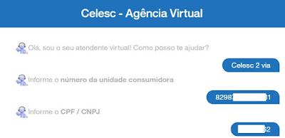 Imagem do Chat do bot para pegar o código de barras da Celesc 2 via