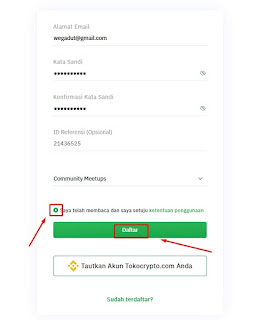 Formulir pendaftaran akun Tokocrypto