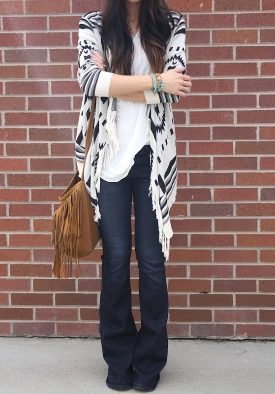 Wearing a Flare Jeans-Wide Leg with Sweater-Cozy Cardigan and Fringe Bag for Comfy Look