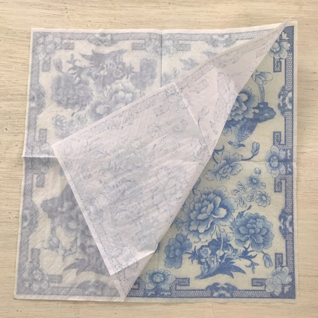 three layers chinoiserie cocktail napkin