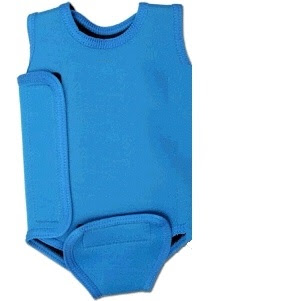 Picture of a baby wetsuit. Parents often say, I'm cold in the pool but t's warm water