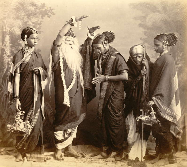 studio portrait of a marathi theatrical troupe bombay