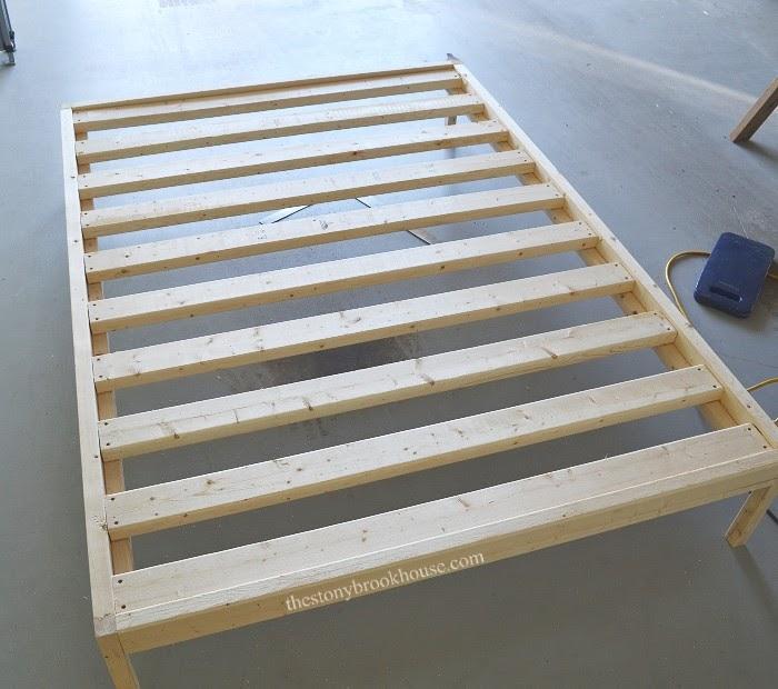 Frame and slats installed in bed frame