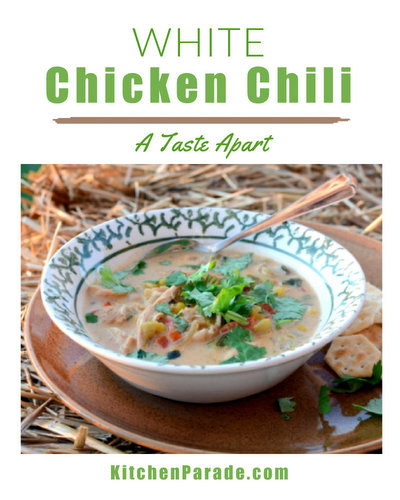 White Chicken Chili ♥ KitchenParade.com, spicy-but-not-too-spicy, just chicken, spices, chilies and white beans.