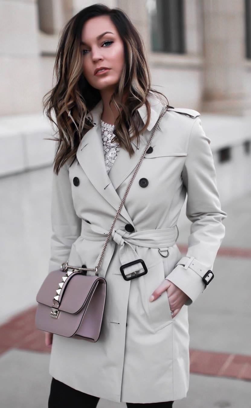 elegant fall outfit | crossbody bag + trench coat + white lace top + jeans