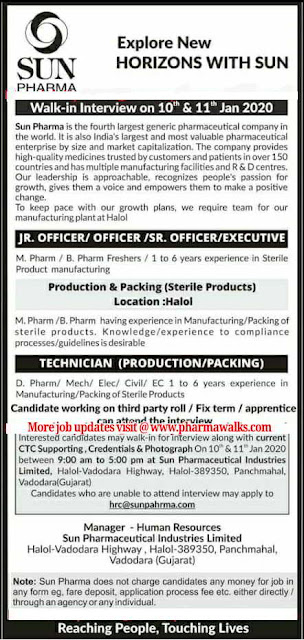 Sun Pharma walk-in interview for Production & Packing on 10th & 11th Jan' 2020
