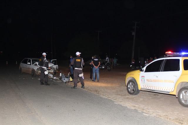 Colisão entre carro e moto deixa uma vítima fatal na RN-117, na saída de Mossoró para Governador Dix-Sept Rosado