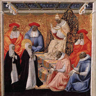 Giovanni di Paolo's painting depicts the meeting of Catherine of Siena with Gregory XI at Avignon