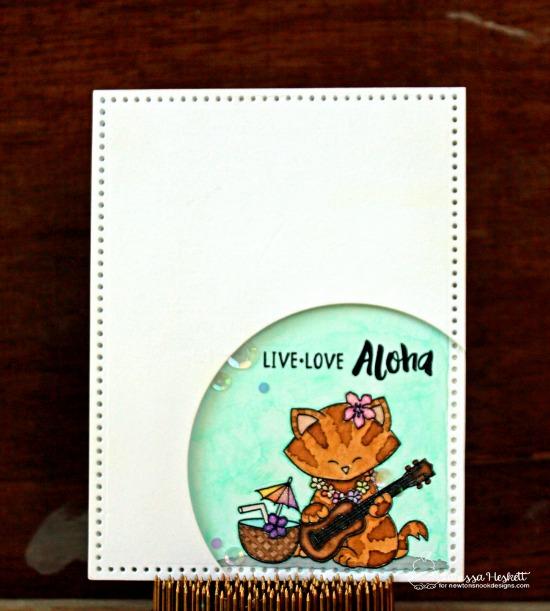 Cat playing ukulele Card by Larissa Heskett | Aloha Newton Stamp set by Newton's Nook Designs #newtonsnook