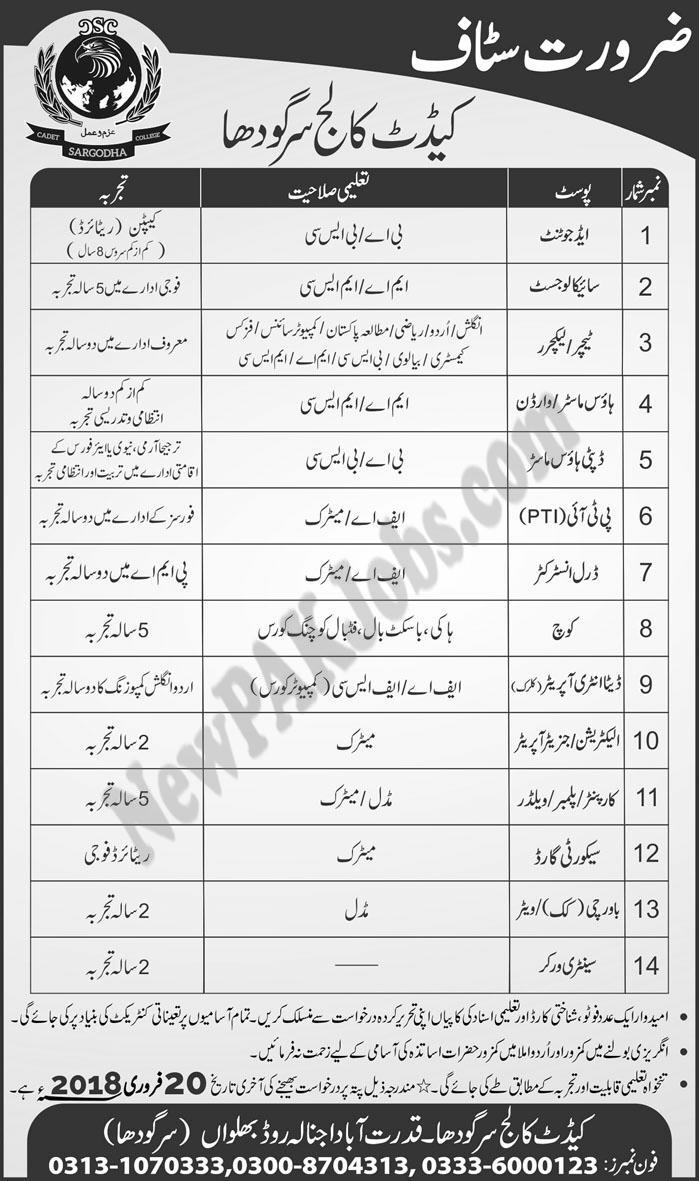 Latest Jobs in Cadet College Sargodha Jan 2018