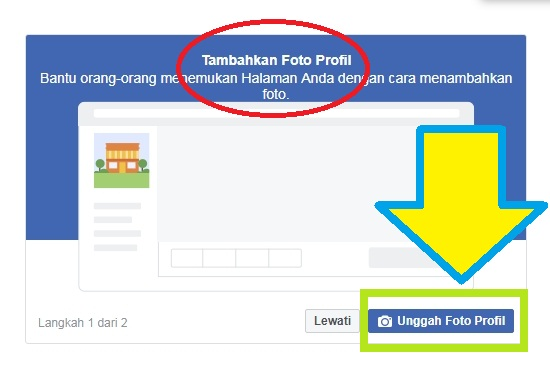 Tambahkan foto profile Fp untuk membuat Fanpage