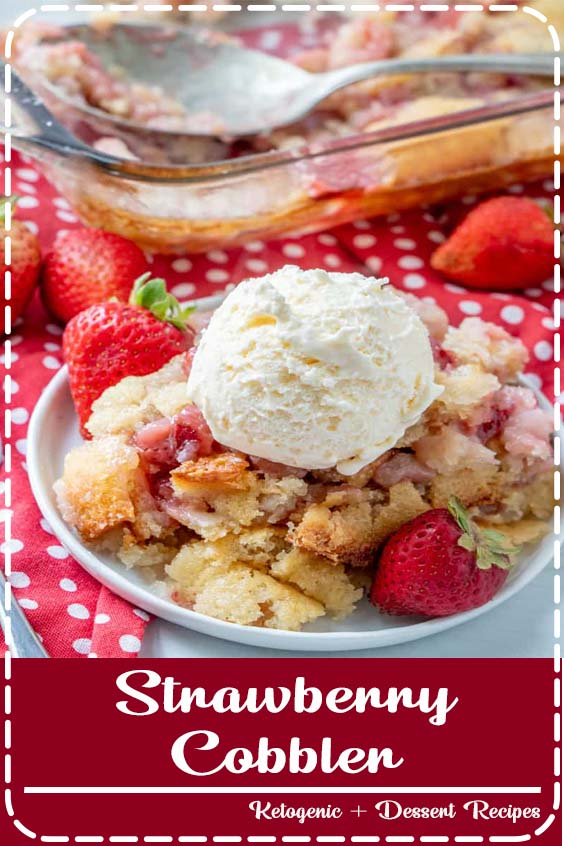 With only 6 ingredients this Strawberry Cobbler is a delicious old-fashioned recipe that is bursting with flavor. The fresh strawberries add delicious depth and sweetness to this seriously simple dessert recipe! #strawberry #cobbler #baking #recipe #tasty #delicious #strawberrycobbler