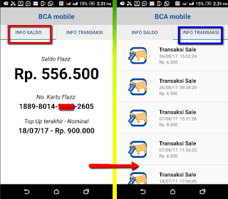 panduan Cara cepat dan mudah cek saldo kartu e-money dan BCA Flazz di handphone