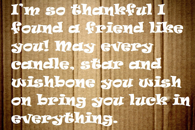 I'm so thankful I found a friend like you! May every candle, star and wishbone you wish on bring you luck in everything.