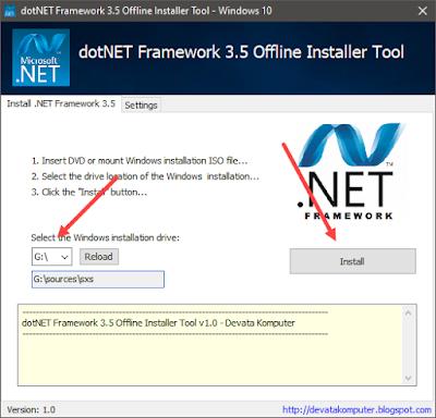 mengaktifkan net framework 3.5 tanpa internet