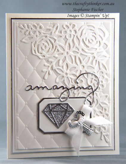 #thecraftythinker #stampinup #cardmaking #anniversarycard #springtimeimpressions , Springtime Impressions dies, Tufted Embossing Folder, Eclectic Layers, Diamond Wedding Anniversary Card, Stampin' Up Australia Demonstrator, Stephanie Fischer, Sydney NSW