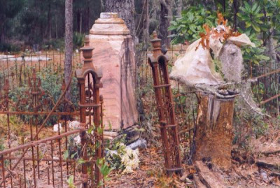 Paper mache', jute, oak leaves and Spanish moss, Silver Springs Cemetery Florida, on location 1997.  Private Collection of Silver Springs, Black Cemetery  Florida. Timeless Expression by Maguire