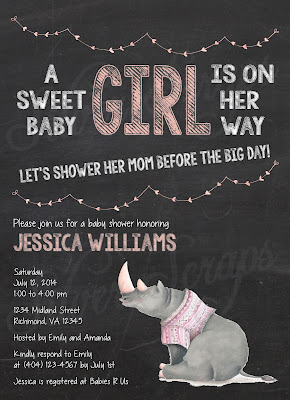 Chalkboard, Bunting & Rhinoceros Custom Baby Girl Shower Sprinkle Invitation - Grey Gray Rhino Chalk Pink Peach Lavender white black string hearts banner bunting sweet cute girl sweater lavender purple horns Matching Back Side floral flowers yellow gold flower buds