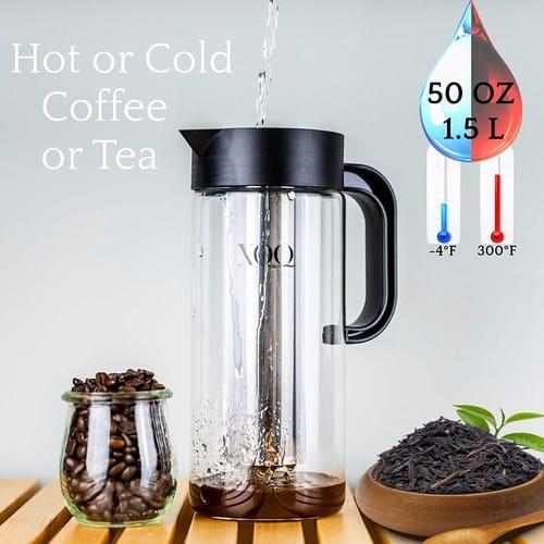 XOQute 50 Oz/1.5L Borosilicate Glass Cold Brew Maker