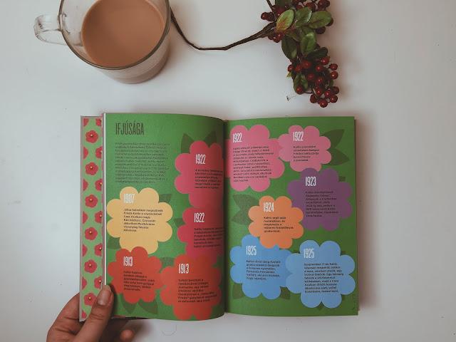 Frida Kahlo infografika könyv belső oldalai - ifjúsága dupla oldal