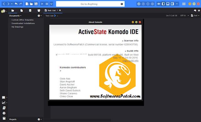 Tela de abertura do Komodo Edit 10.1