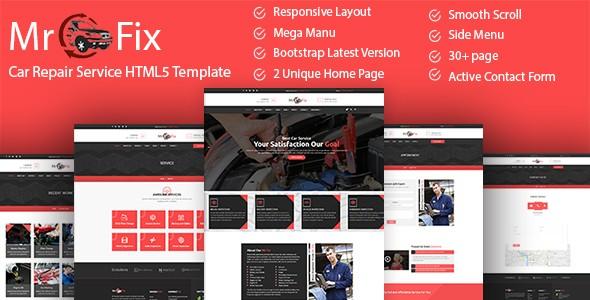 Mr Fix Car Repair Service HTML5 Website Templates