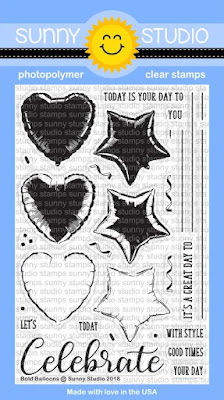 Sunny Studio Stamps: Bold Balloons 4x6 Celebrate Clear Stamps